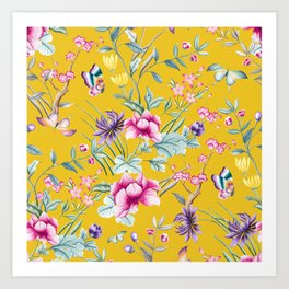 Yellow Chinese Floral Art Print