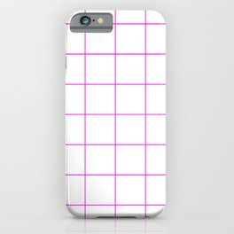 Graph Paper (Magenta & White Pattern) iPhone Case