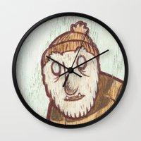 hockey Wall Clocks featuring Hockey Yeti by Kip Noschese