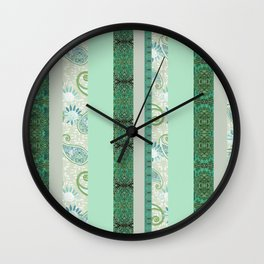 French Stripe Green/Grey Wall Clock