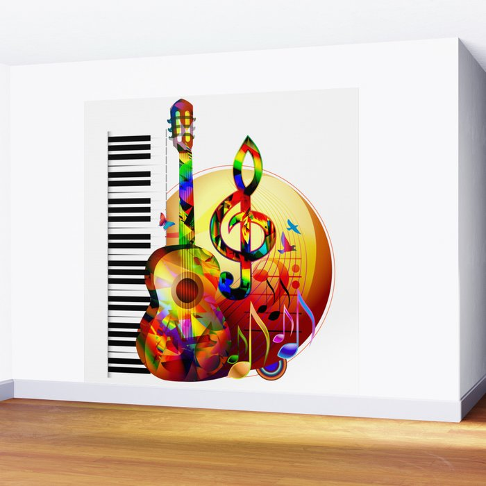 Colorful Music Instruments Painting Guitar Treble Clef Piano Musical Notes Flying Birds Wall Mural