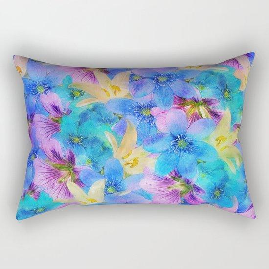 Vivid Floral Pattern Rectangular Pillow