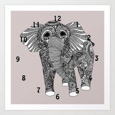 elephant clock Art Print