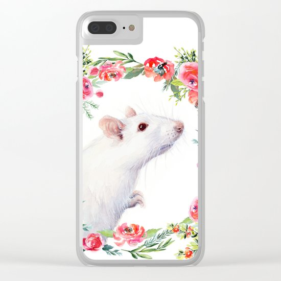 White Rat with Flowers Watercolor Floral Pattern Animal Clear iPhone Case