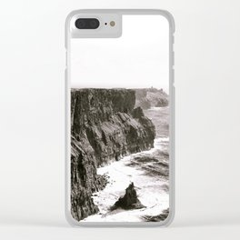 Cliffs of Mohr Ireland Black And White Clear iPhone Case