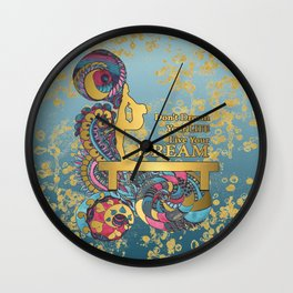 Gymnastics- Live your Dream- In Turquoise and Gold Watercolor Doodle Design Wall Clock