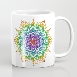 Grunge Feathered Mandala A - Rainbow Coffee Mug