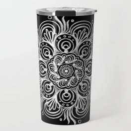 Chalk Art Mandala on Black Board, Mandala Motif in Black and White Travel Mug