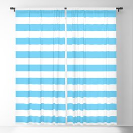 Horizontal Light Blue Stripes Pattern Blackout Curtain