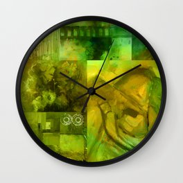 Green Collage Wall Clock