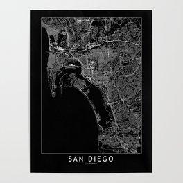 San Diego Black Map Poster