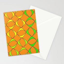 Pattern from schematic colorful objects to represent natural products on a black background. Stationery Cards