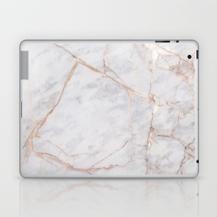 White Italian Marble U0026 Gold Laptop U0026 IPad Skin
