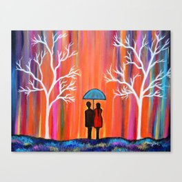 Colors Of Love Romantic Colorful Rainy Painting Canvas Print