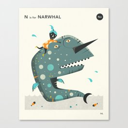 N IS FOR NARWHAL Canvas Print