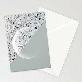 Minimal Terrazzo Moon on Vintage Green #moonart Stationery Cards