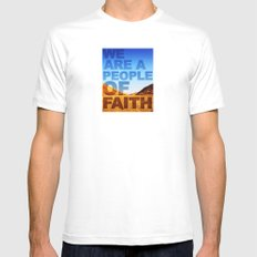 WE ARE A PEOPLE OF FAITH (Hebrews 11) MEDIUM Mens Fitted Tee White
