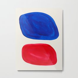 Mid Century Modern Retro Minimalist Colorful Shapes Phthalo Blue Red Rothko Pebbles Metal Print