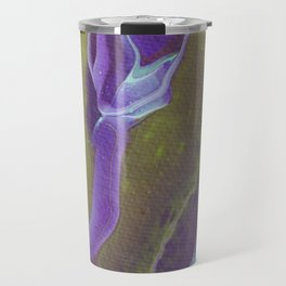 Fluid Art Acrylic Painting, Pour 32, Green, Purple, & Turquoise Blended Color Travel Mug