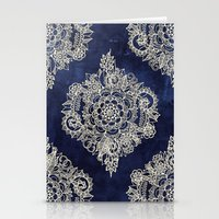 damask Stationery Cards featuring Cream Floral Moroccan Pattern on Deep Indigo Ink by micklyn