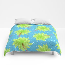 Pattern of Palm Tree-like Flowers Comforters