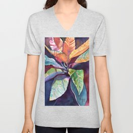 Colorful Tropical Leaves 3 Unisex V-Neck