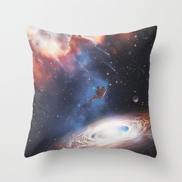 The astronaut attracted by a galaxy by GEN Z Throw Pillow