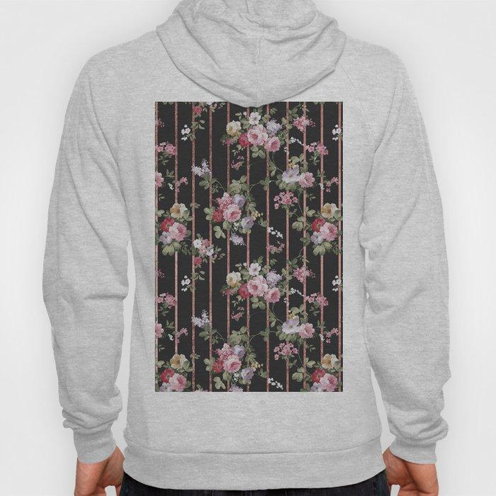Elegant faux rose gold black stripes vintage blush pink lavender floral Hoody