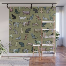 Cats Shapes Marble - Olive Green Wall Mural