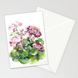 Watercolor pink geranium flowers aquarelle Stationery Cards