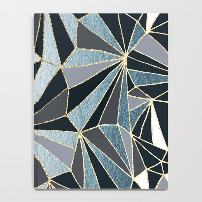 Stylish Art Deco Geometric Pattern - Black, blue, Gold #abstract #pattern Notebook