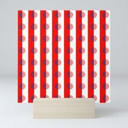 Horizons Geometric Sun Shine Stripe Design 16 - Red White Blue Mini Art Print