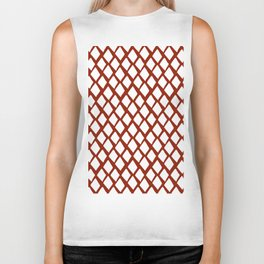 Rhombus White And Red Biker Tank