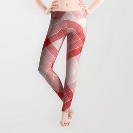 Red Geometric Squares Diagonal Check Tablecloth Leggings