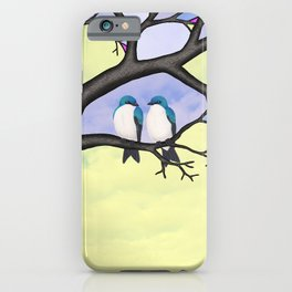 tree swallows in the stained glass tree iPhone Case