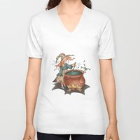 witch V-neck T-shirts featuring Witch by Catru