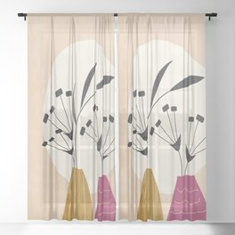 Two Vases Sheer Curtain