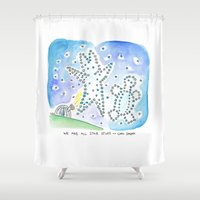 carl sagan Shower Curtains featuring Bunny Daze - We are all Start Stuff ~ Carl Sagan by Cindy Rodella Purdy