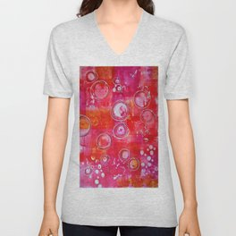 Abstract Pink Aura Unisex V-Neck