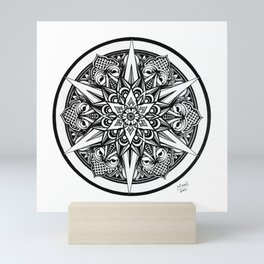 Art Print of Black White Mandala hand-drawn in Ink, Beautiful Soul Design, Circular Geometric Art Mini Art Print
