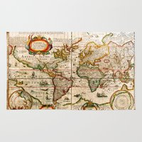 vintage map Area & Throw Rugs featuring Vintage Map by Diego Tirigall