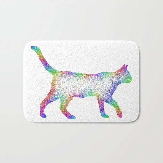 Rainbow cat Bath Mat