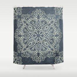 Mandala Vintage Ivory Blue Shower Curtain