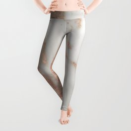 Marble Rose Gold Shimmery Marble Leggings