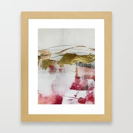 Untranslated Stars: a minimal, abstract piece in gold, pink, and white by Alyssa Hamilton Art Framed Art Print