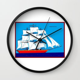 Clipper Ship in Sunny Sky - Happy Birthday on some items Wall Clock
