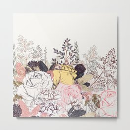 Miles and miles of rose garden. Retro floral pattern in vintag style Metal Print