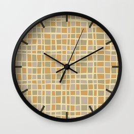 Mosaic pattern in golden sand tones Wall Clock
