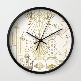 Santa Fe Garden – Gold Ink Wall Clock