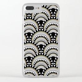 Monochrome and Gold Art Deco Scallops Clear iPhone Case